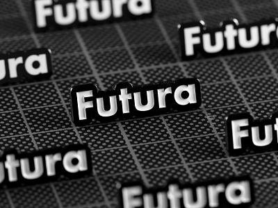 Futura Enamel Pin minimal type fontpins enamel pin typography font futura logo design