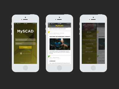 MySCAD Mobile App Redesign, Part 1
