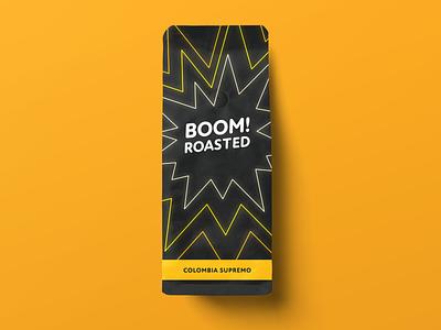 Boom! Roasted branding typography packaging coffee