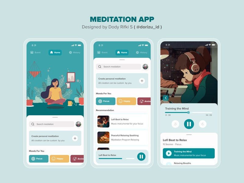 MEDITATION APP gojek cool illustration design mobile ux ui mobile app ui design