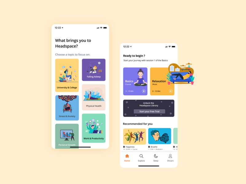 Meditation App firstshot debut home illustration mobile design calmness relax music yoga peace ios app meditation