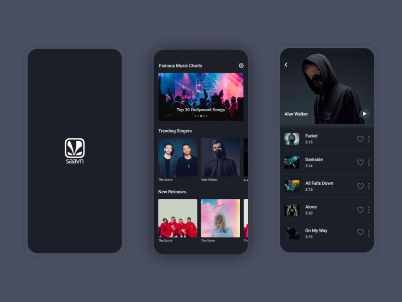 Dark Themed Music App hollywood ux ui charts singers enjoying relaxing app music theme dark