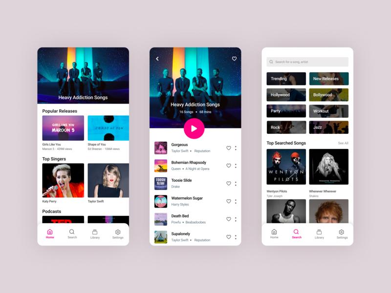 Music App (Light Theme) songs enjoyment happiness calmness design ux ui ios app music