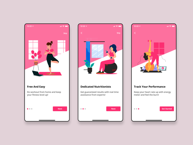 Fitness Onboarding design vector illustration app ios ui ux exercise yoga fitness onboarding