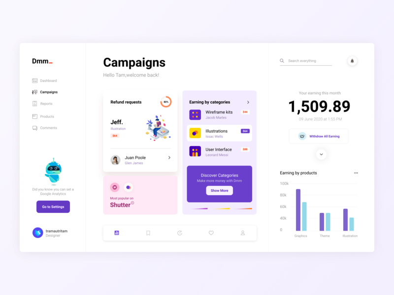 Design Dashboard earning illustrations campaign products ux ui dashboard design