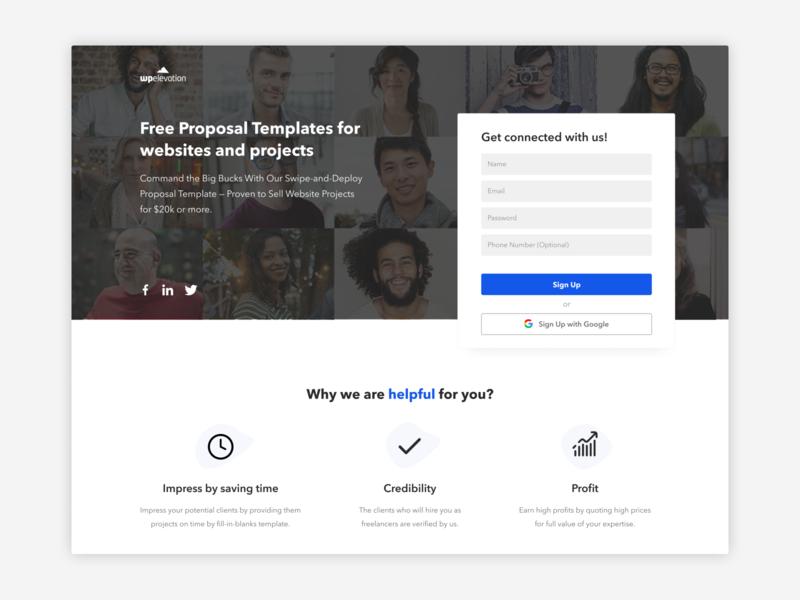 Optin Page promotional design project template social links images design ux ui optin