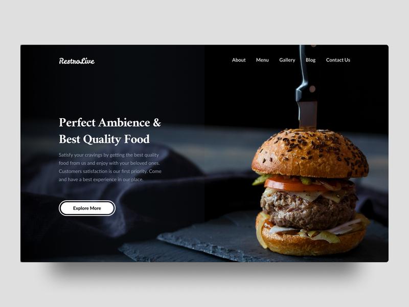 Restaurant Hero Section website ux ui ambience landingpage herosection lounge food restaurant