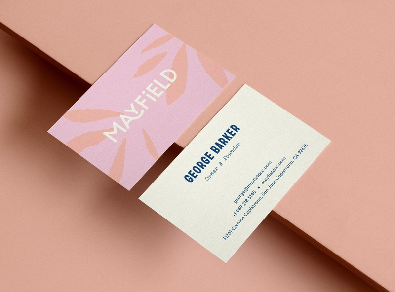 Mayfield Business Card restaurant branding restaurant logo business card minimal typography type floral pattern abstract design business card design business cards brand identity brand branding logo