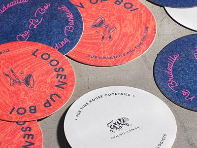 Cha Li Boi Coasters restaurant branding illustration logo branding pop coasters