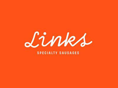 Links Specialty Sausages Logo fast food restuarant brand hotdog logo typography brand identity american sausage hotdog script font hand lettered logo retro minimal branding logo