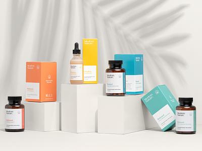 Modern Nature Product Range brand identity logo minimal product branding packaging vitamins supplements cbd