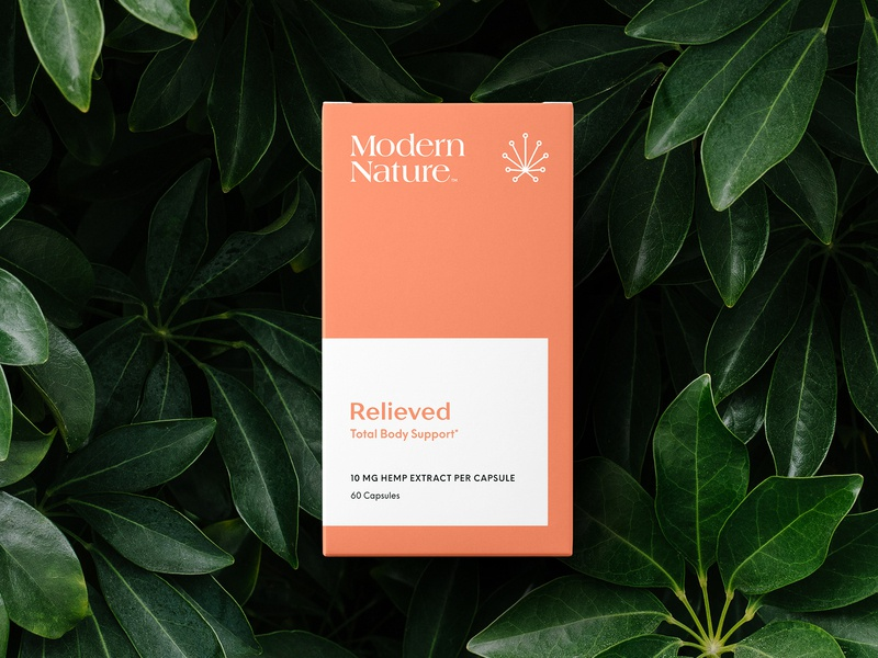 Modern Nature Relieved supplement vitamins logo minimal packaging cannabis logo cannabis branding cannabis packaging hemp cbd
