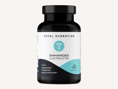 Total Hydration Electrolyte Capsule Packaging Design design brand supplements nutrition health and wellness vitamins packaging brand identity minimal branding logo