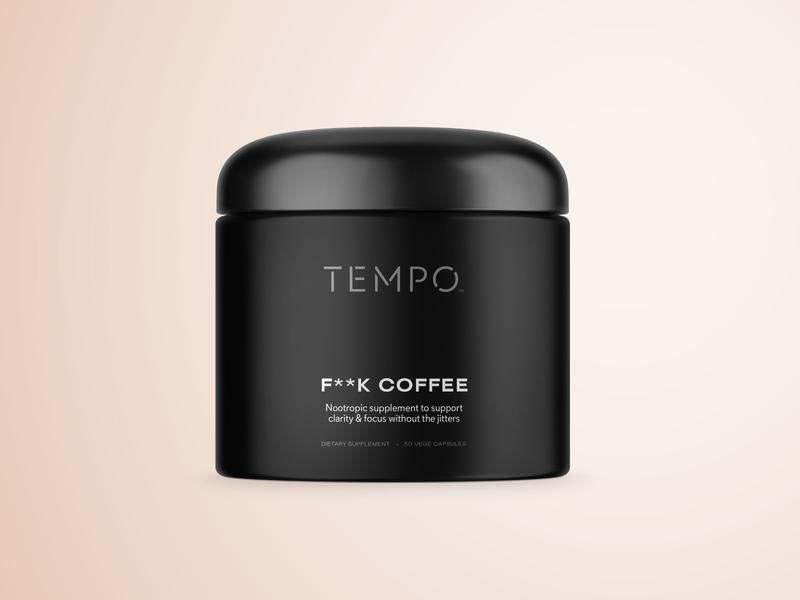 Tempo Nootropic Supplement Packaging wellness health brand identity supplements vitamins typography packaging brand minimal branding logo