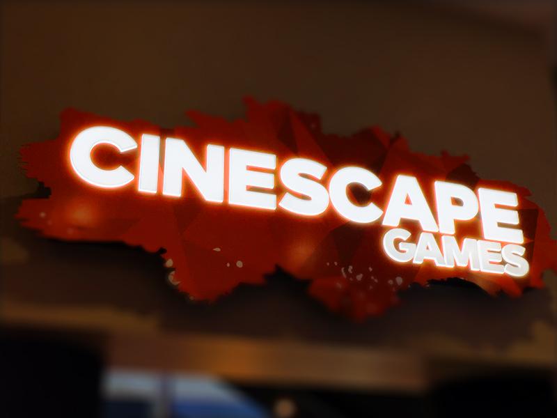Cineplex Cinescape Logo tilt-shift orange cineplex neon light light-up cutout paint geometric logo