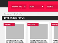 Website concept - product listings