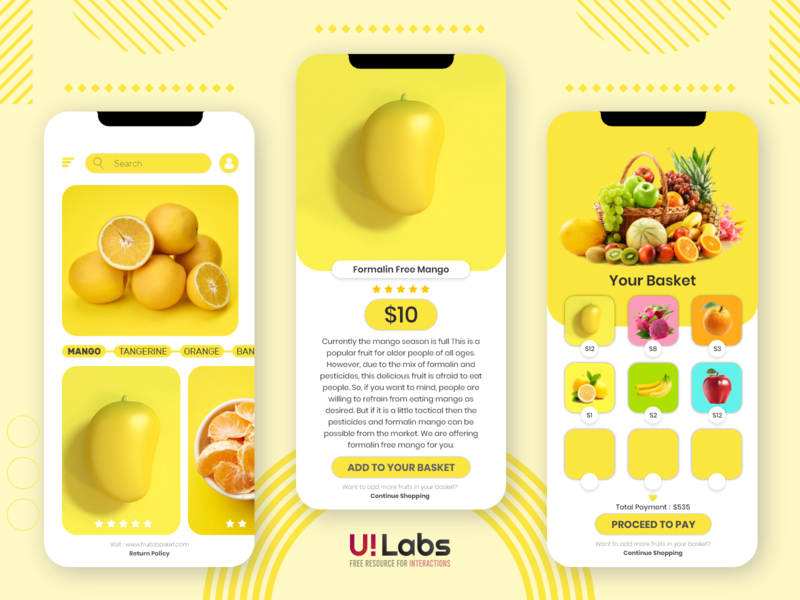 Fruit Basket Mobile UI interaction designer interaction design mobile app design mobile app illustration vector logo ui ui design design clean 2020 branding clean design