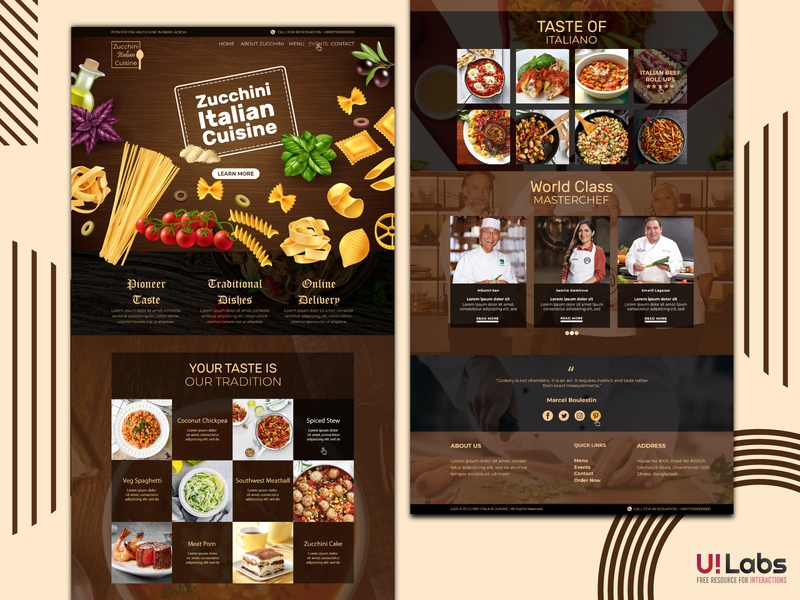 Zucchini Italian Cuisine Site Template web templates web template design landing page restaurant website web template web ui logo illustration ui design design clean 2020 branding clean design