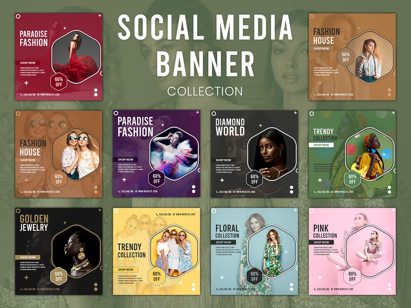 Social Media Banner Collection fashion banner social media banner social media design web icon vector ui design design clean 2020 branding clean design