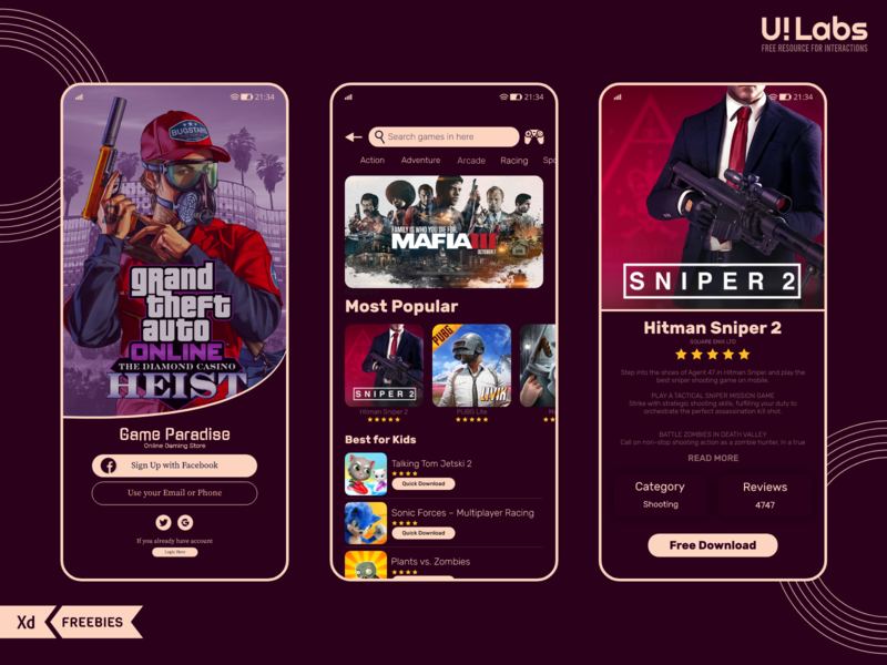 Android Game Store Mobile UI play store app android ui mobile ui vector icon app flat web typography ux illustration ui ui design design clean 2020 branding clean design
