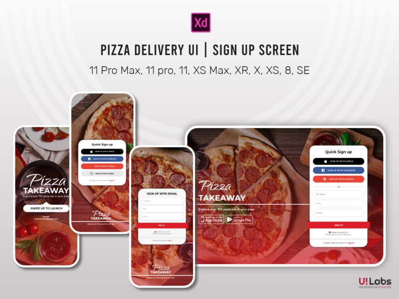 Pizza Delivery UI | Sign up Screen design ui signup desktop ui pizza delivery ui online store sign up ui ui design interaction mobile ui signup screen 2020 branding clean design
