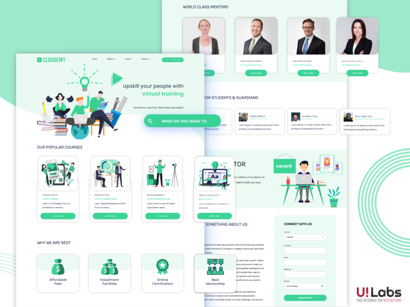 Cloudemy | Website Template | XD animation illustrations 2020 branding illustration art clean design illustration design templates wordpress theme landing page web design illustration