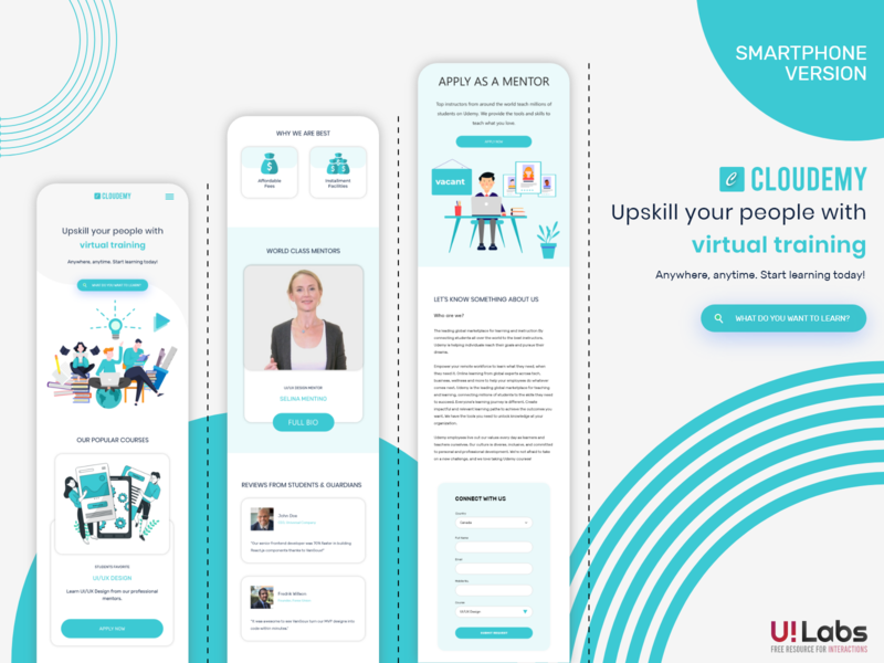Cloudemy Smartphone Version | XD | FREE website design web design landing page wordpress design wordpress theme wordpress ux illustration vector ui ui design design clean 2020 branding clean design