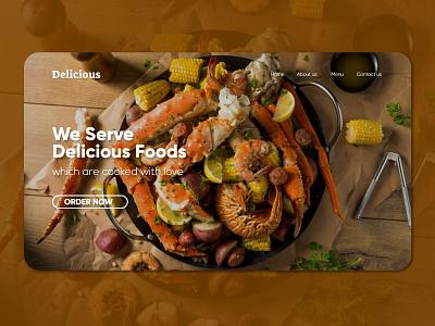 Delicious Foods Landing Page interaction designer restaurant foood wordpress template user interface interaction design flat web ux ui ui design design clean 2020 branding clean design