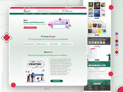Printing Bangla web UI wordpress theme flat web app design ux ui ui design 2020 branding clean design