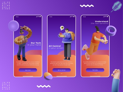Onboarding screen designs app intro mobile onboarding technology ux mobile app application ui 3d illustration onboarding screen onboarding xd figma sketch