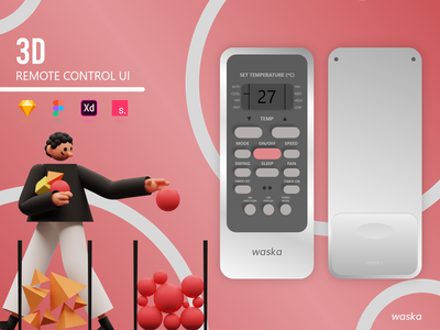 Waska | Remote Control UI | XD | Sketch | Figma illustration clean design 2020 waska remote control ui ux ui free download 3d model 3d art 3d 3d illustrations illustrations interaction figma sketch