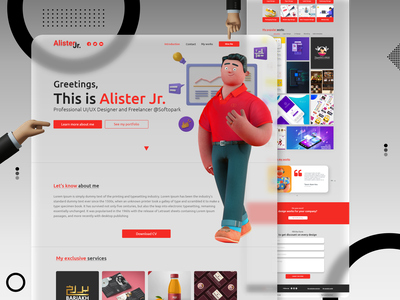 Alister - Personal CV/Resume Site blur blurred background blurry glassmorphism glass 3d character 3d modeling personal freelancer creative portfolio cv resume minimal resume clean minimalist illustration