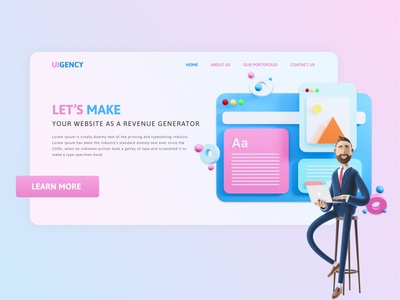UIGENCY | 3D Header UI best of dribbble dribbble popular clean design branding web ui web website figma clean illustration header exploration 3d art 3d