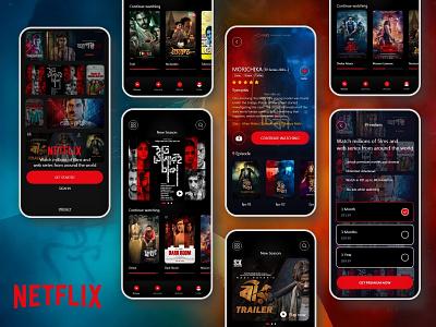 Netflix App Redesign dark ui dribbble bangladesh app development web series app movie app android ios mobile ui app redesign netflix app