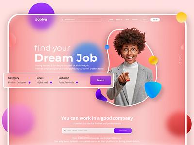 Job Searching Website ui design uiux glassmorphism website design homepage web design website landing page web page