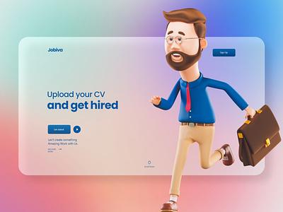 Job Hunting Website figma sketch xd website web page web design ui design landing page home page 3d ui
