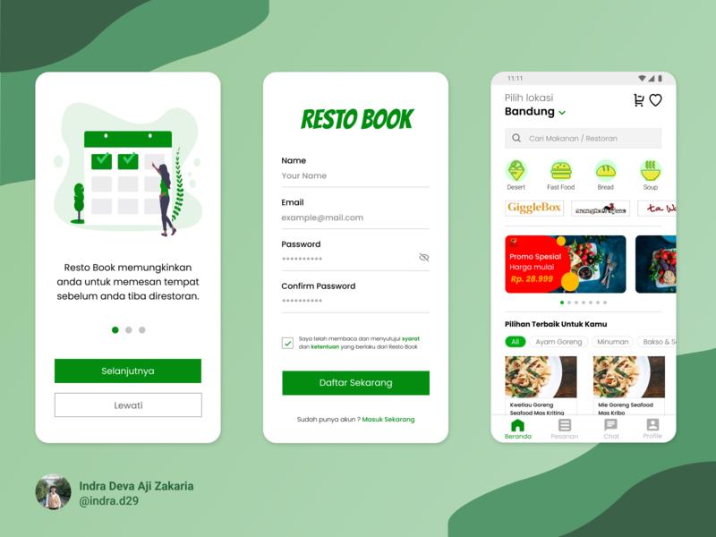Restobook App Design restaurant food app food green restourant resto ui design app dark mode uidesign mobile app design app design mobile ui