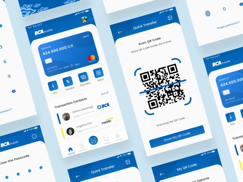 BCA Mobile Redesign Concept uiux redesign concept redesign app design mobile design blue blue and white finance app finance bank app banking bca uidesign ui design mobile app design mobile ui