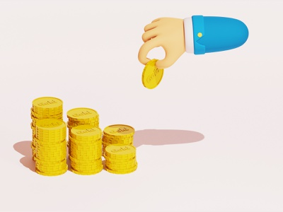 Gold Investment rich coins hand investment investing gold 3d art 3d