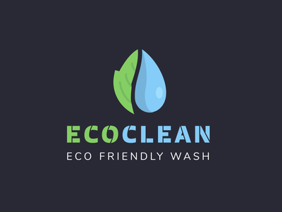 ECOCLEAN cleaning logo water logo logodesign logo icons icon flat design branding