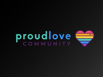 ProudLove Community pride month rainbow heart pride ui vector illustration logodesign logo icons icon flat design branding
