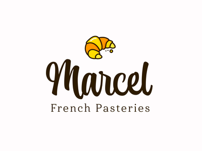 Marcel French Pasteries pastry croissant bakery bakery logo flat logodesign logo icons icon design branding
