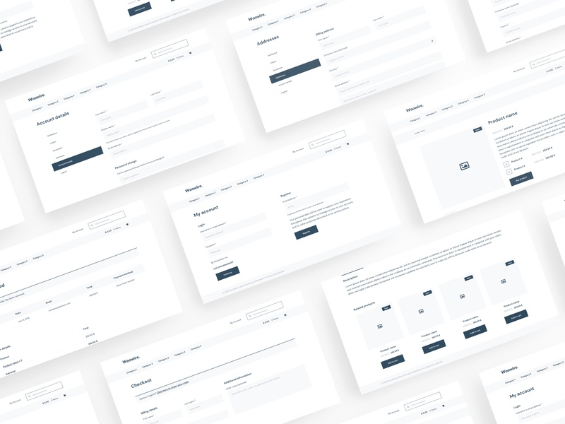 Woowire - WordPress WooCommerce Wireframe for Sketch