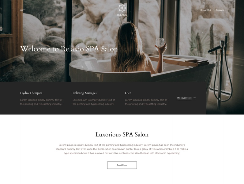 Relaxio - Spa Massage Salon Sketch Template wellness center ux ui spa therapy spa simple relax makeup life style design creative cosmetic clean business beauty