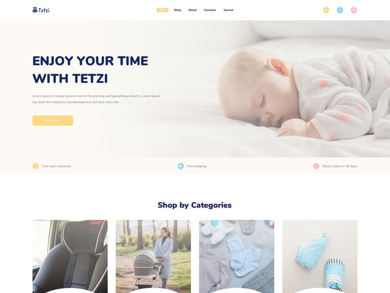 Tetzi - Baby & Kids eCommerce Sketch Template woocommerce store shopping shop online modern market kids craft fashion design creative clean children store children baby