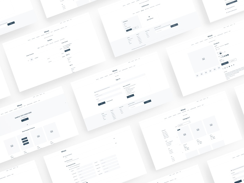 Wimel - BigCommerce Wireframe for Sketch wireframe wf web ux ui template sketch simple shop prototype kit ecommerce clean bootstrap bigcommerce