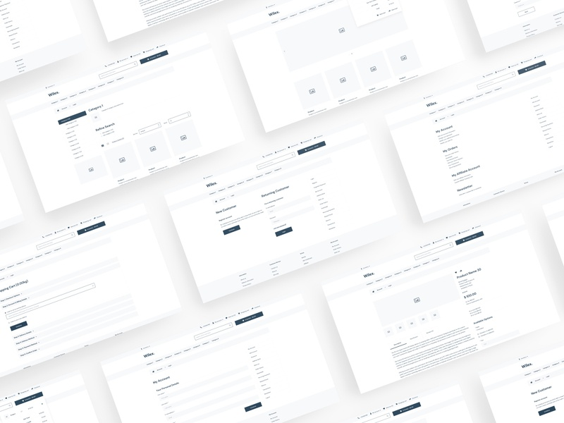 Wilex - OpenCart 3 Wireframe for Sketch wireframe wf web ux ui template sketch simple shop prototype opencart kit ecommerce clean bootstrap