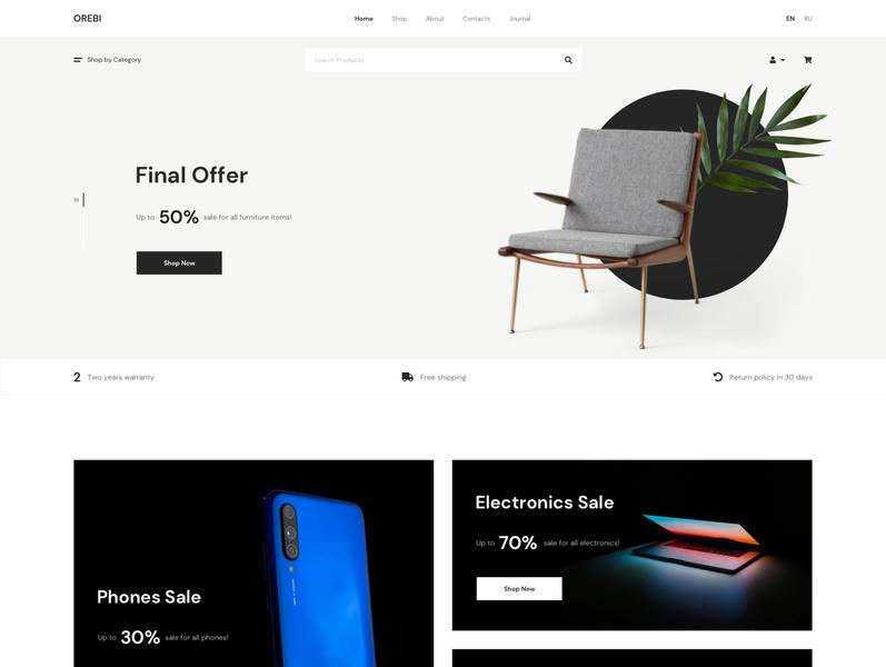 Orebi - Minimal eCommerce Sketch Template woocommerce ux unique ui store shopping shop online multipurpose modern market magazine design creative clean