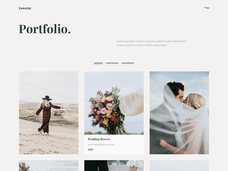 Loversy - Wedding Photography WordPress Theme wedding photography wedding responsive portfolio photography photographer modern minimal masonry gallery elementor clean blog agency