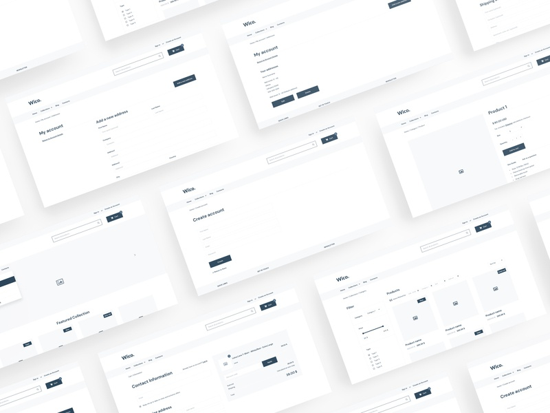 Wico - Shopify Wireframe for Adobe XD xd wireframe wf web ux ui template simple shopify shop prototype kit ecommerce clean bootstrap